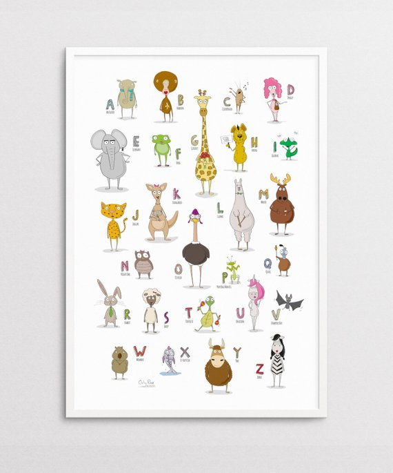 Printable Alphabet Poster, Illustrated Animal Poster, Wall Print