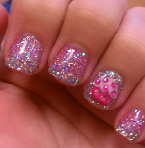 Glitter Cupcakes Nails Pinterest Pink Glitter Cupcake Nail