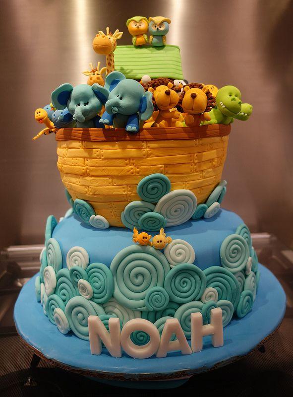 Noah S Ark Cake With Images Noahs Ark Cake Baby Shower