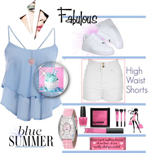 Blue Summer by klassygirl on Polyvore featuring polyvore, fashion, style, AX Paris, Jane Norman, NIKE, Akribos XXIV, H&M, NARS Cosmetics, OPI Rex