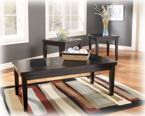 3 Denja Contemporary Dark Brown Wood Gl Occasional Table Sets