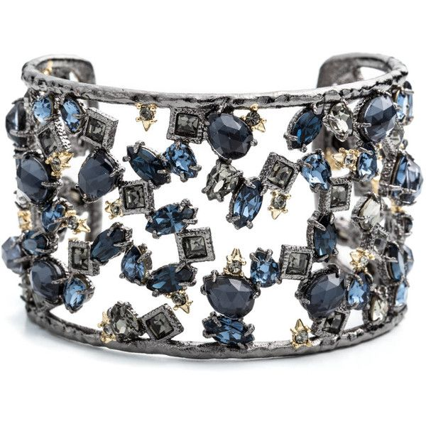 Alexis Bittar Spiked Crystal Confetti Cuff (€305) ❤ liked on Polyvore featuring jewelry, bracelets, spike bangle, crystal jewelry, spike cuff bracelet, cuff jewelry and bracelet bangle