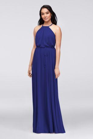Soft Mesh Halter Bridesmaid Dress with Slim Sash F19533