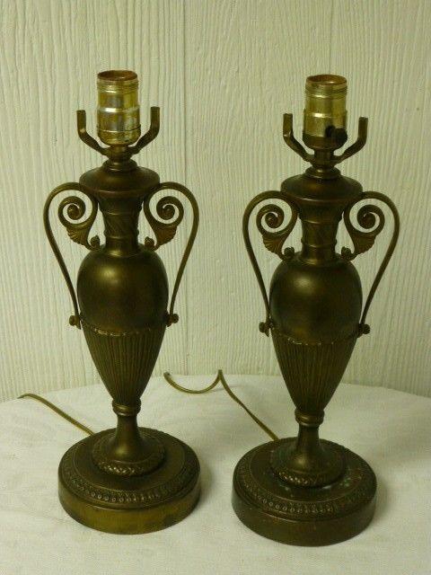 "Vintage Antique Brass Trophy Style Shape Table Lamp 13"""