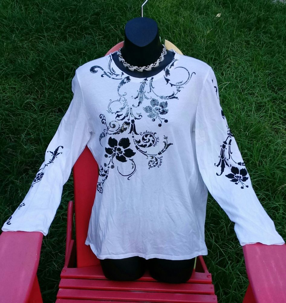 c81dcb0a3810d5 Calvin Klein Women s Long Sleeve Floral Graphics Top ~ Size L  CalvinKlein   TShirt  Casual