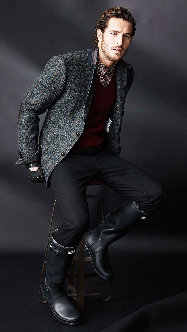 Men\'s Charcoal Check Wool Blazer, Burgundy V-neck Sweater ...