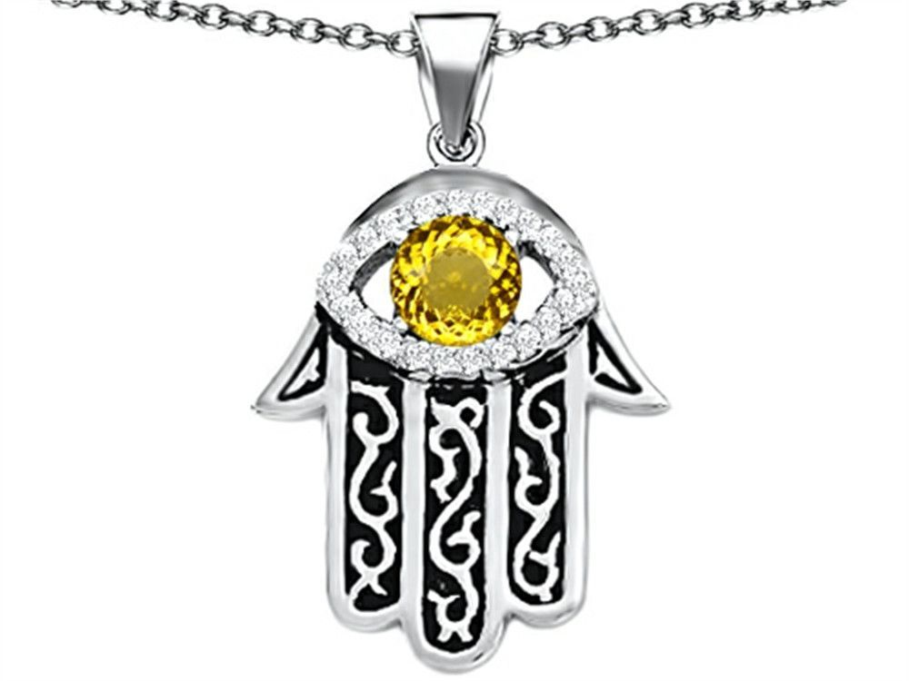 Star K Good Luck Hamsa Evil Eye Protection Pendant Necklace with Round Simulated Citrine