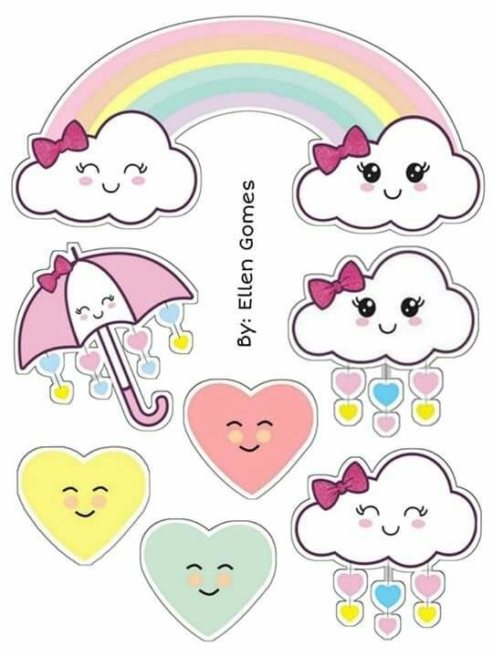 Topo de bolo chuva de amor