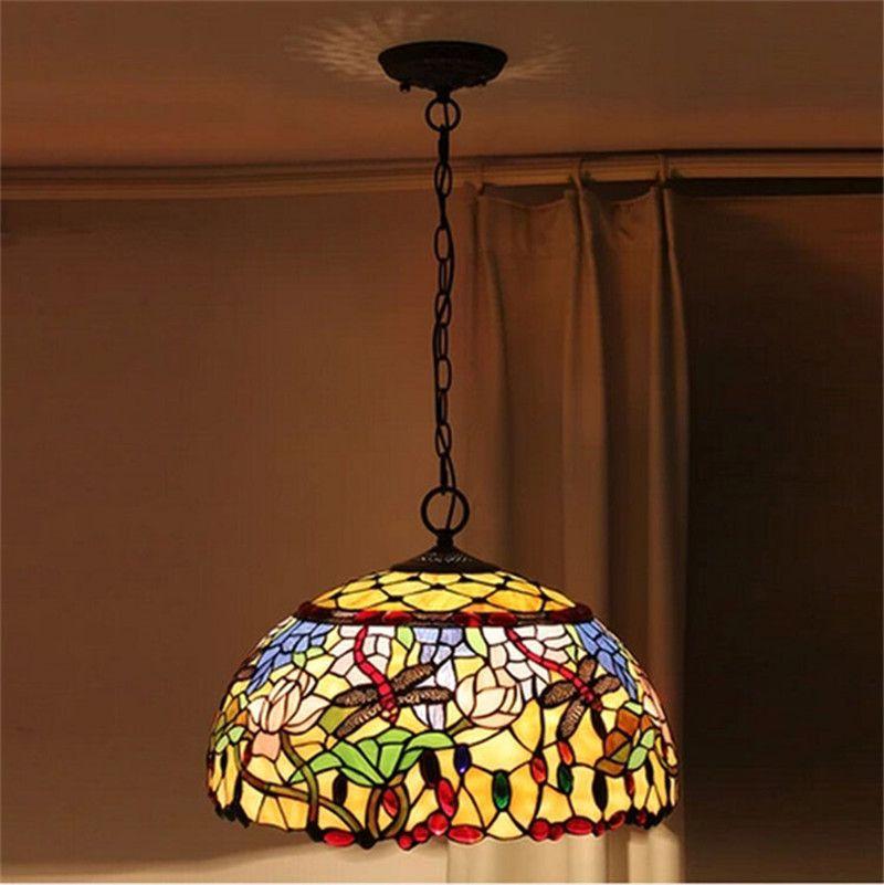 Tiffany Dragonfly Pendant Lamp Stained Glass Pendant Lamp European-style  Garden Cafe Loft Pendant Lamp