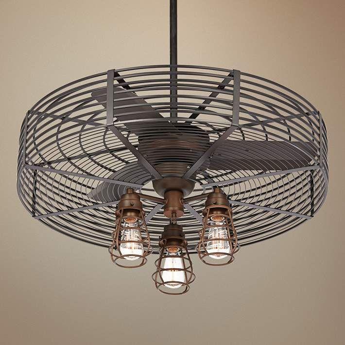 32 Vintage Breeze Bronze Cage 3 Light Ceiling Fan 21c58 Lamps Plus Ceiling Fan Vintage Industrial Decor Fan Lamp Industrial cage ceiling fan