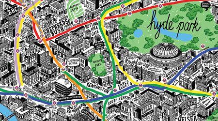 手書きのロンドン絵地図 手のスケッチ イラストマップ 地図