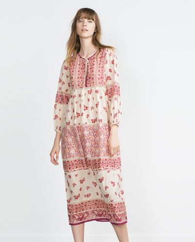 714a3886bc Image 1 of LONG PRINTED DRESS from Zara | Want in 2019 | Dresses ...