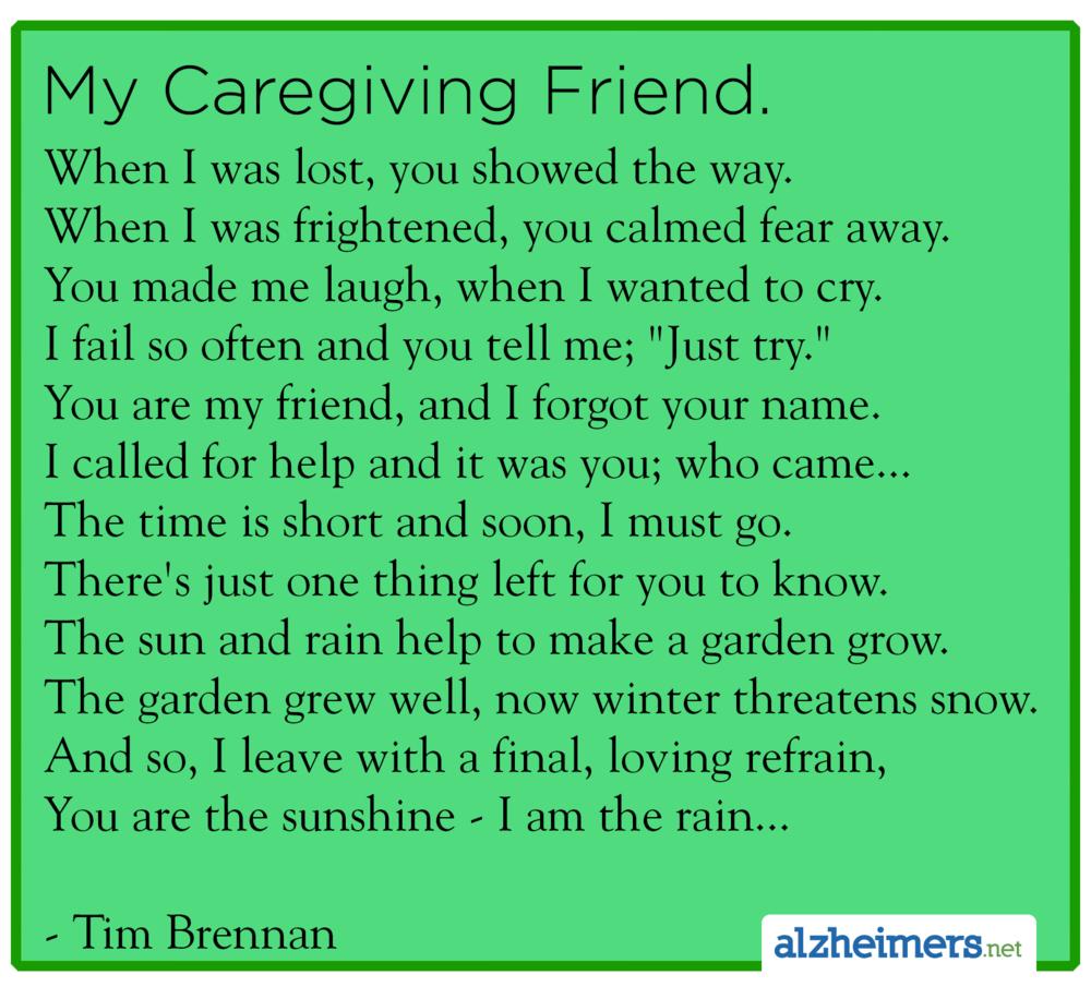 Alzheimer's Poem: My Caregiving Friend By Tim Brennan
