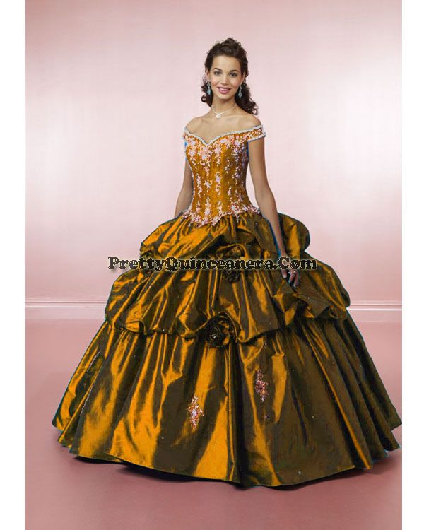 2010 Summer quinceanera dress,Elegant Quinceanera Dress 81006-5,discount designer quinceanera ball gowns,This romantic gown features embroidery on the corset seamed bodice with off-the-shoulder neckline. The corset tie-back closure and modified basque waistline meet the ruched, ball gown skirt with removable flowers.br / br / br /