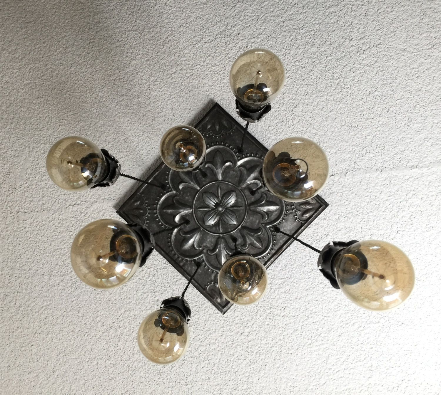 Industrial Chandelier Tin Pewter Flower tile rustic lighting raw