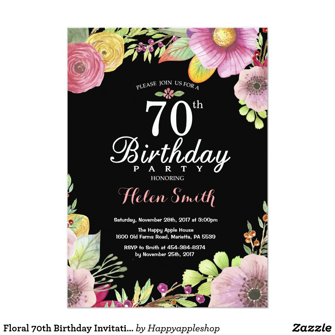 Floral 70th Birthday Invitation For Women