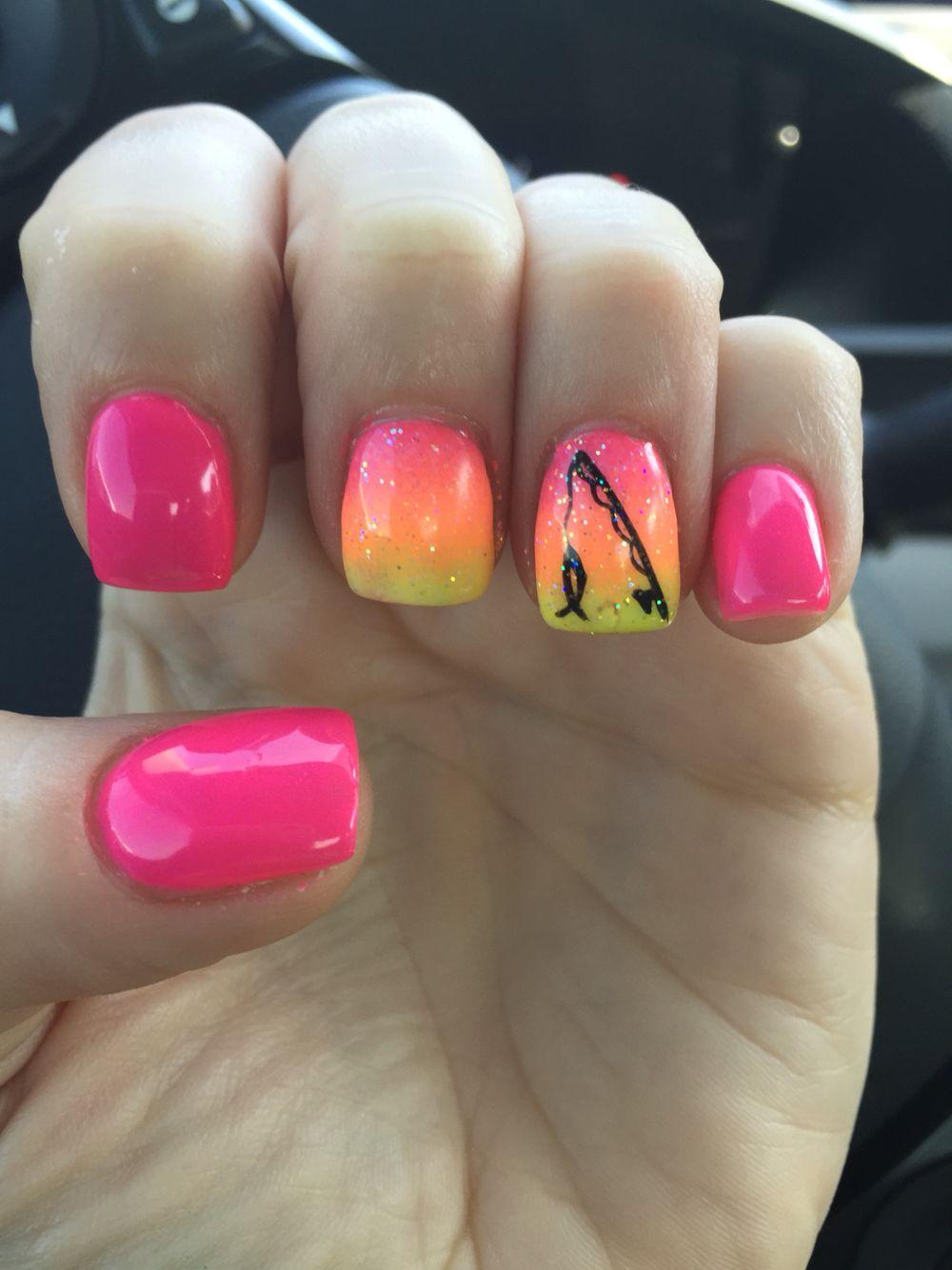 Girly fishing nail art! Pink, glitter, ombré :-) - Girly Fishing Nail Art! Pink, Glitter, Ombré :-) Fishing
