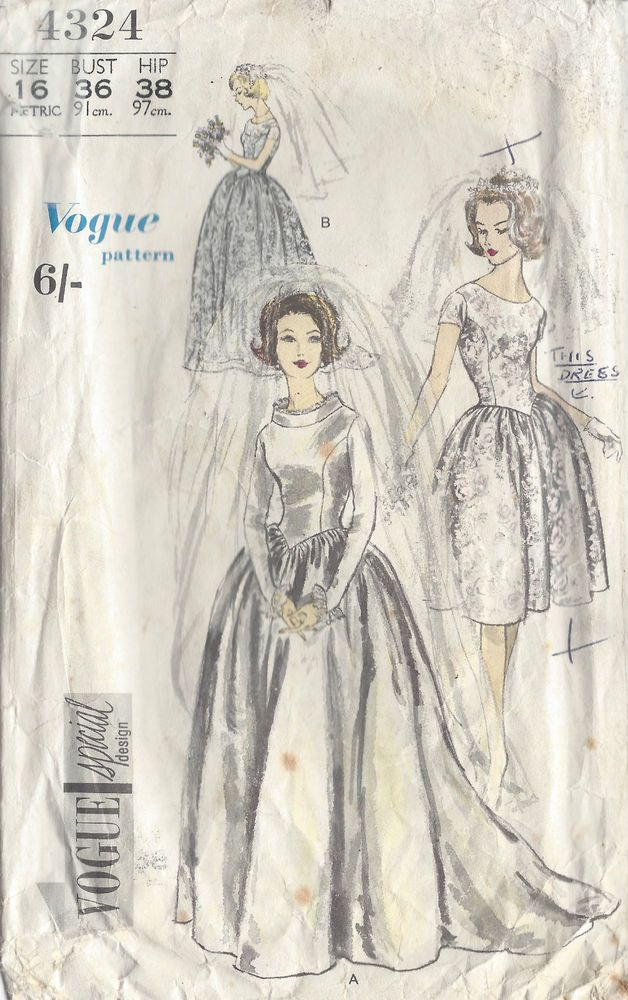 1961 Vintage VOGUE Sewing Pattern B36 WEDDING & BRIDESMAID\'S DRESS ...
