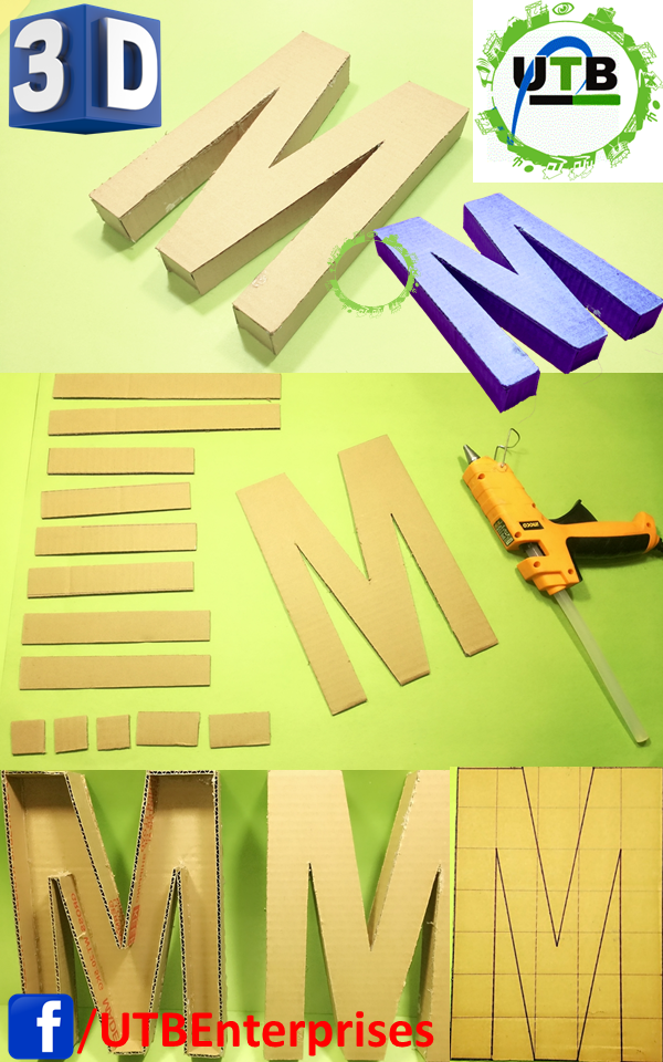 3d Letters Made Of Cardboard Latter M 3d Letters Diy Pencil Case Bird Paper Craft