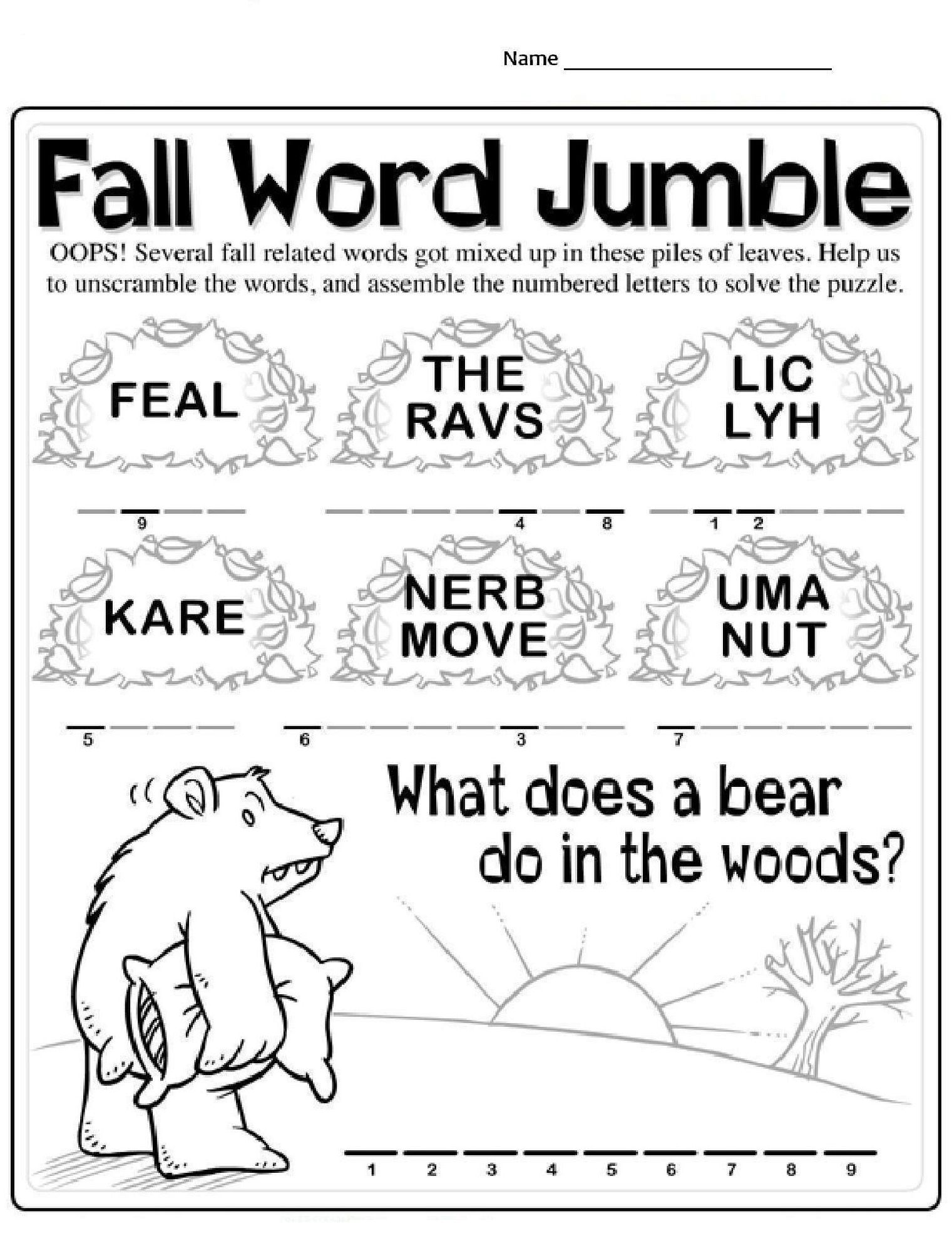 Fall Word Scramble Worksheets