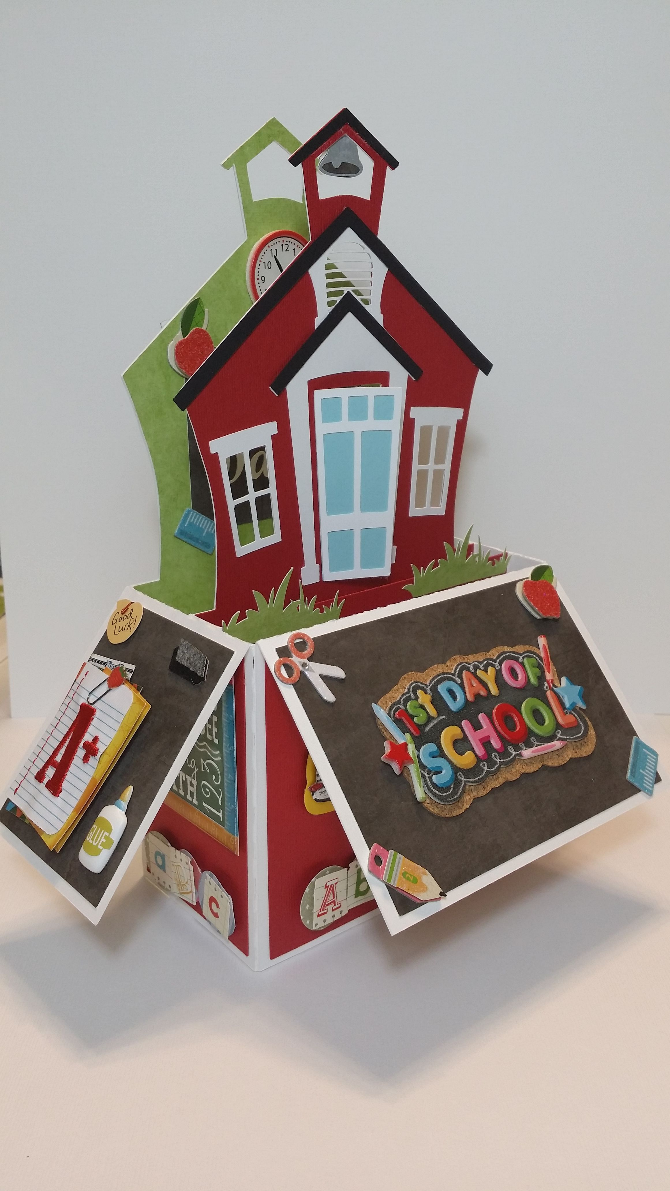 School House Card In A Box Handcrafted By Pryme Dezign Sandy Pry Pop Up Box Cards Card Box Box Cards Tutorial