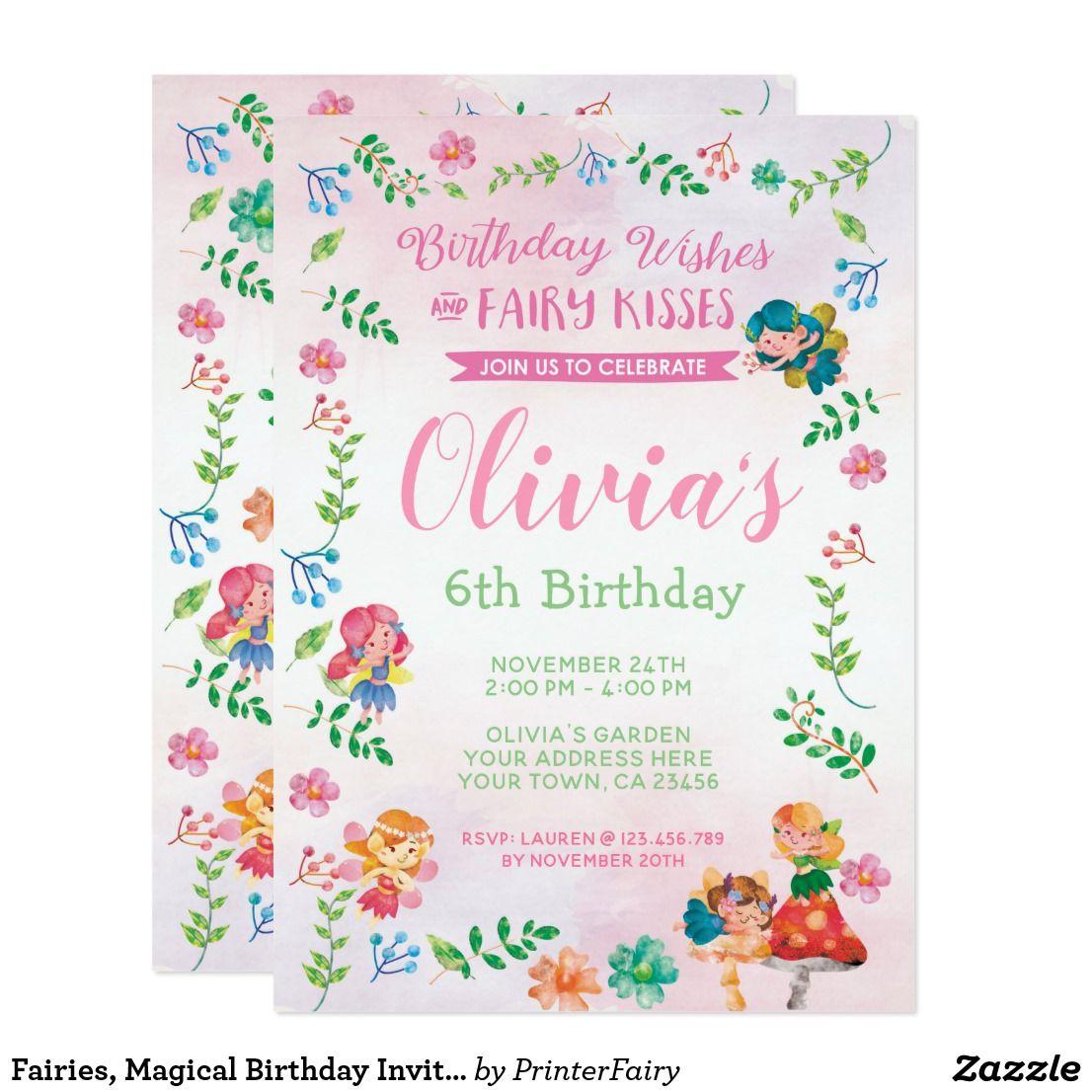 Fairies, Magical Birthday Invitation (With
