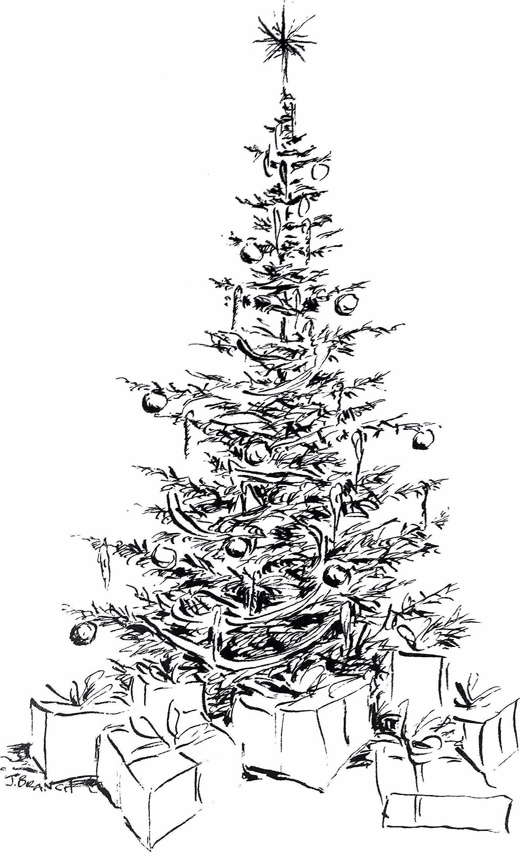 Pdf Of Christmas Tree Card Christmas Tree Drawing Christmas Tree Cards Blue Christmas Tree