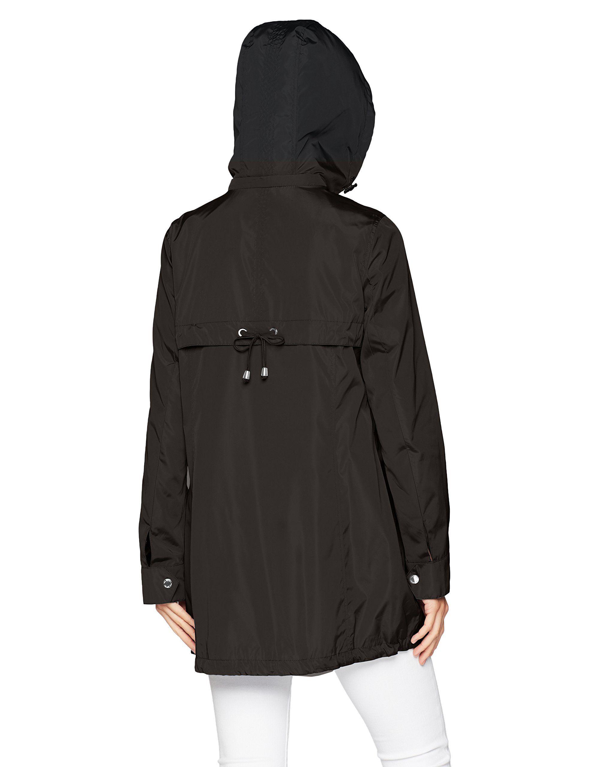 bac065684 Via Spiga Womens Aline Lightweight Packable Rain Jacket Black XS ...