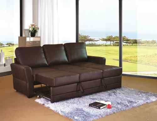 Alonza 3 Seat Leather Sofa And Double Sofabed Brown Ebay Double Sofa Bed Sofa Sofa Bed