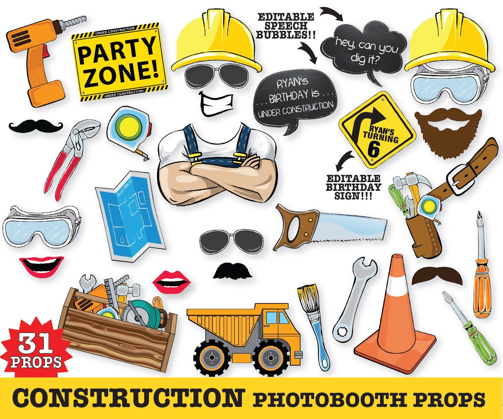 Construction photo booth props construction party construction bob the builder photo booth props truck birthday dump truck party construction baby shower diy printable pdf kit by simplyeverydayme 699 solutioingenieria Images