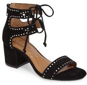 Women S Arturo Chang Hollis Block Heel Sandal Flat Disc Studs Shine Along The Straps Of A Lace Up S Black Block Heel Sandals Block Heels Sandal Womens Sandals