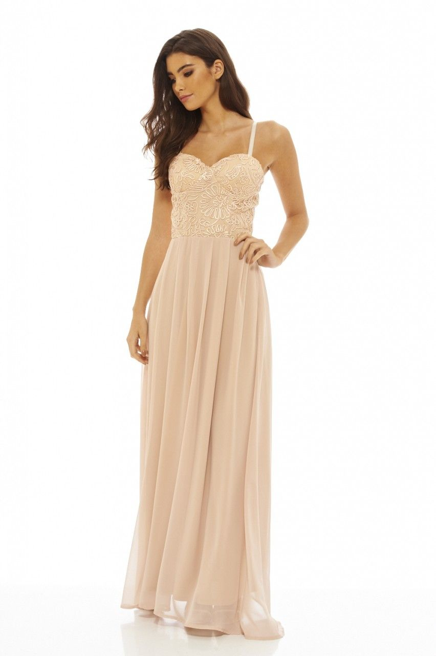 6de58047941 Women s Lace Bodice Maxi Nude Dress - AX Paris USA-Fashion Dresses ...