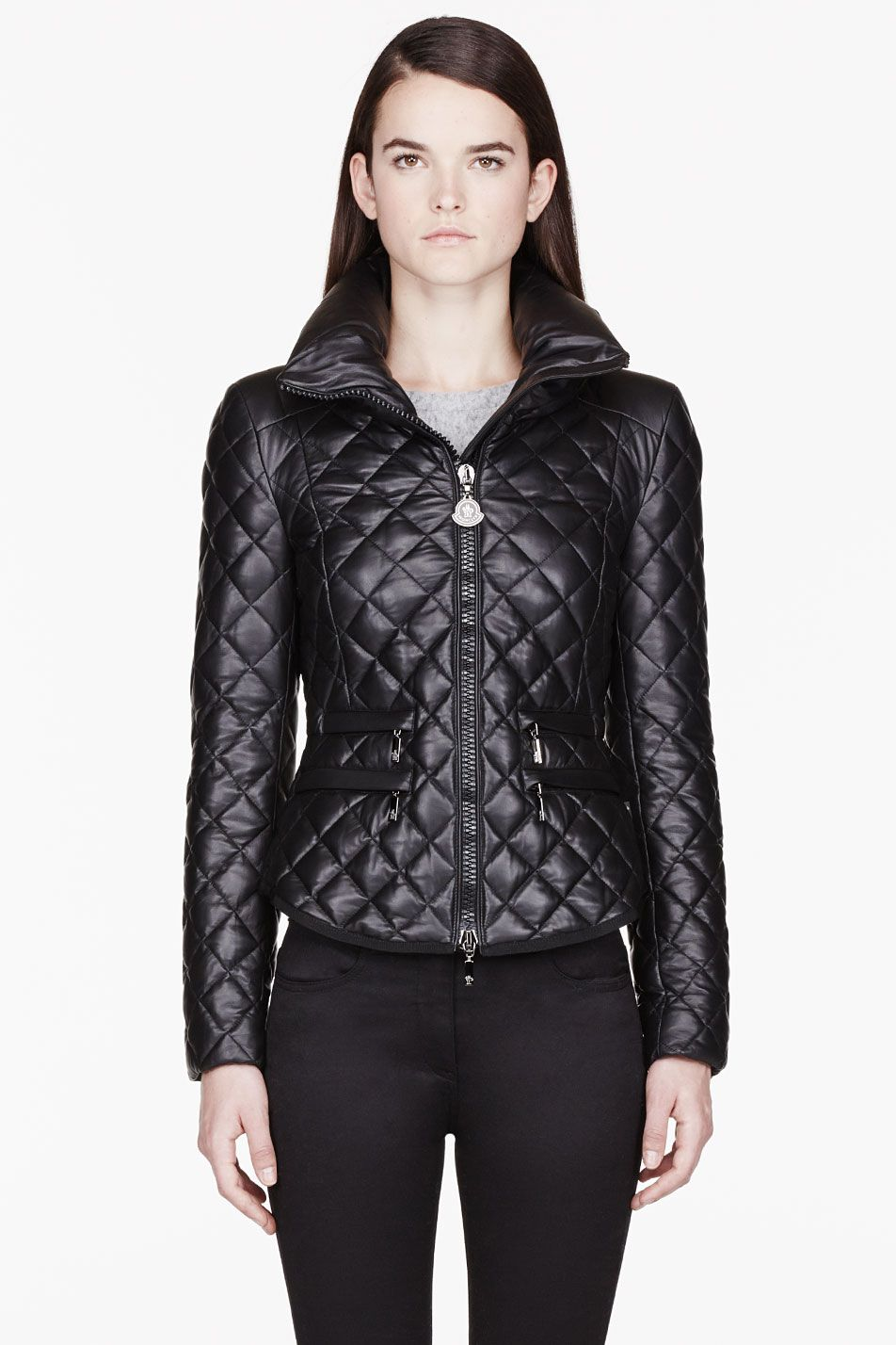 Moncler Black Leather Quilted Jacket Jackets, Quilted