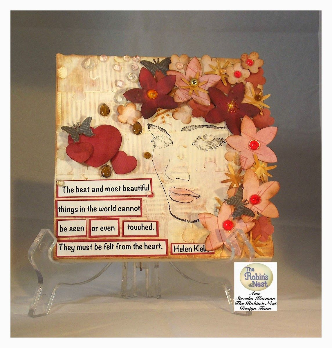 Altered canvas using products from the Robin's Nest.