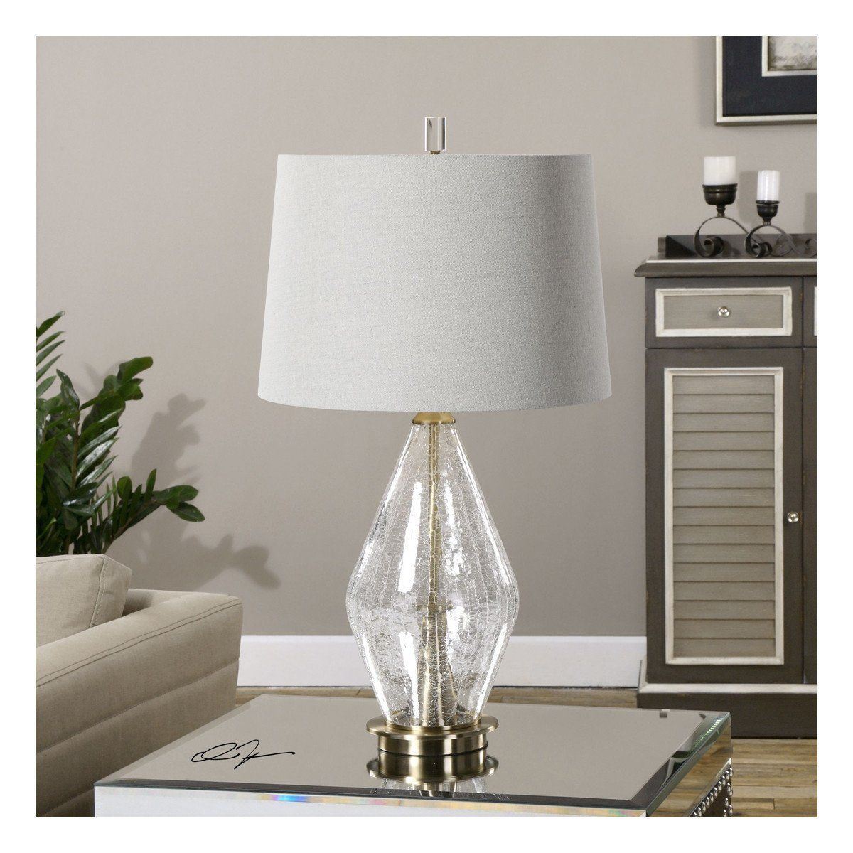 Spezzano Crackled Glass Lamp In 2019 Floor Lamp With