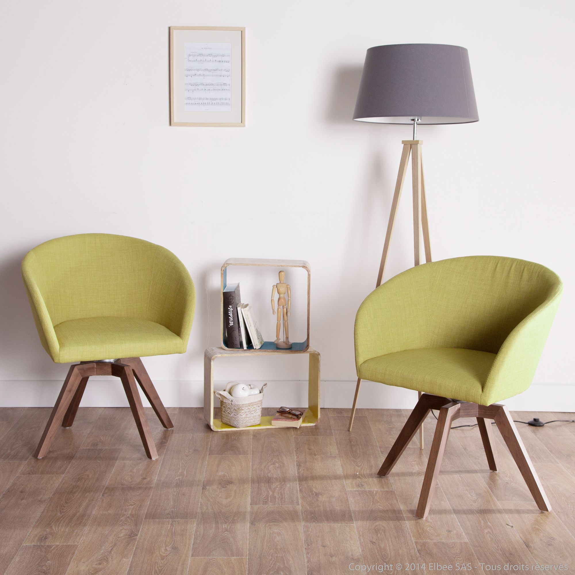 chaise avec accoudoirs en tissu avec pieds bois greenwich | | vert ... - Chaise Fauteuil Avec Accoudoir