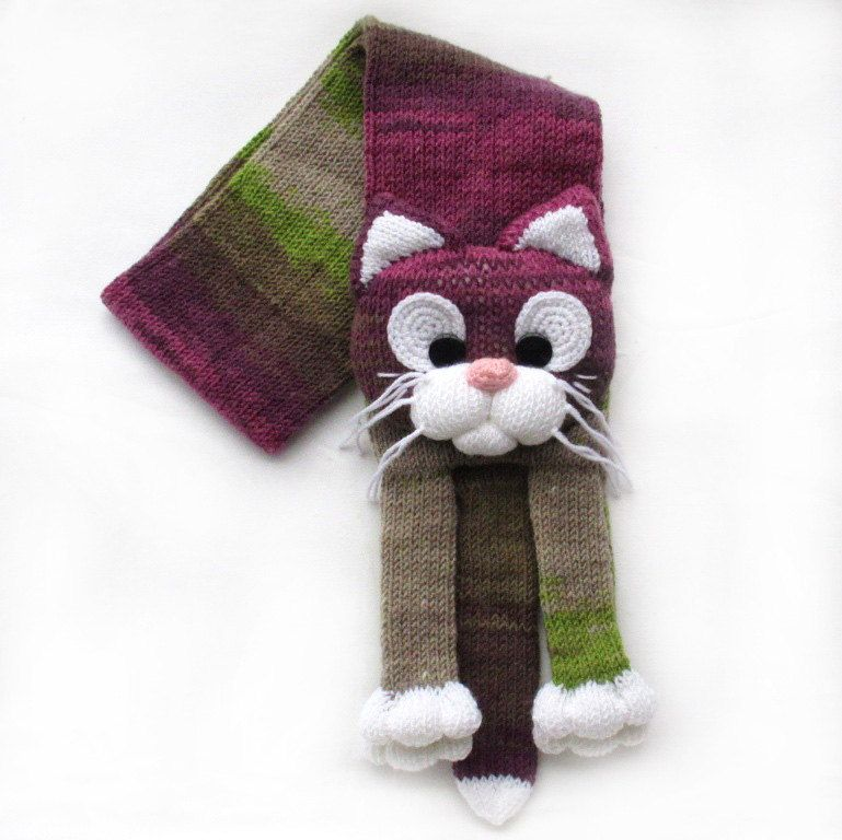 Knitted cat scarf,Knitted scarf,Animal scarf,Cat scarf,Knit scarf ...