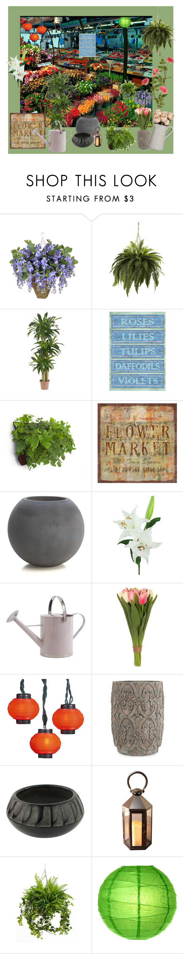 """Flower market"" by pumsiks ❤ liked on Polyvore featuring interior, interiors, interior design, home, home decor, interior decorating, Nearly Natural, Dot & Bo, Home Decorators Collection and Crate and Barrel"