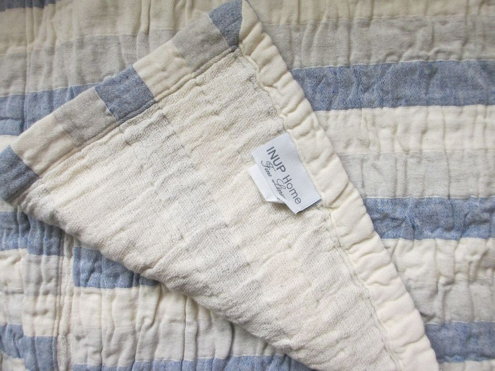 INUP Home Made In Portugal Vintage Cottage Cream Blue Stripes Coverlet    Queen