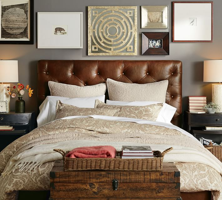 mesmerizing bed frame light brown grey bedroom walls | Tufted Leather bed gray walls-PB in 2019 | Leather bed ...