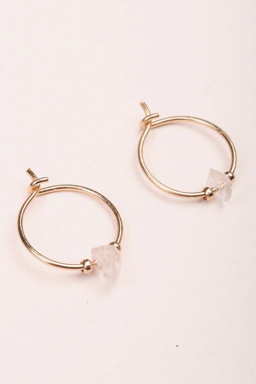 557777444 Brandy ♥ Melville | White Stone Hoop Earrings - Accessories ...
