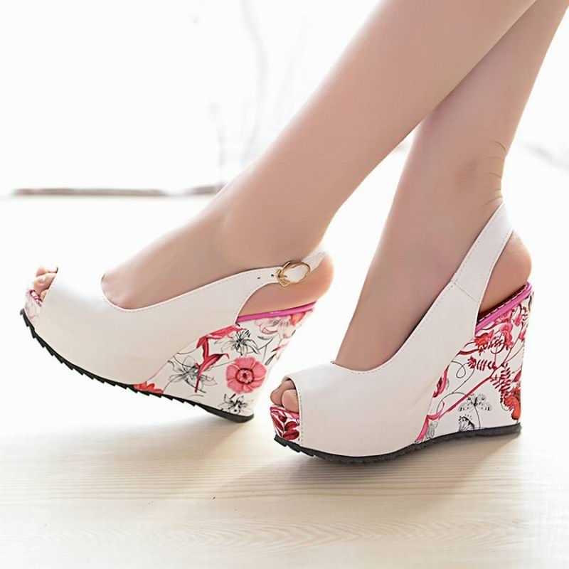 2016 new wedge sandals shoes women high heels shoes open toe ...