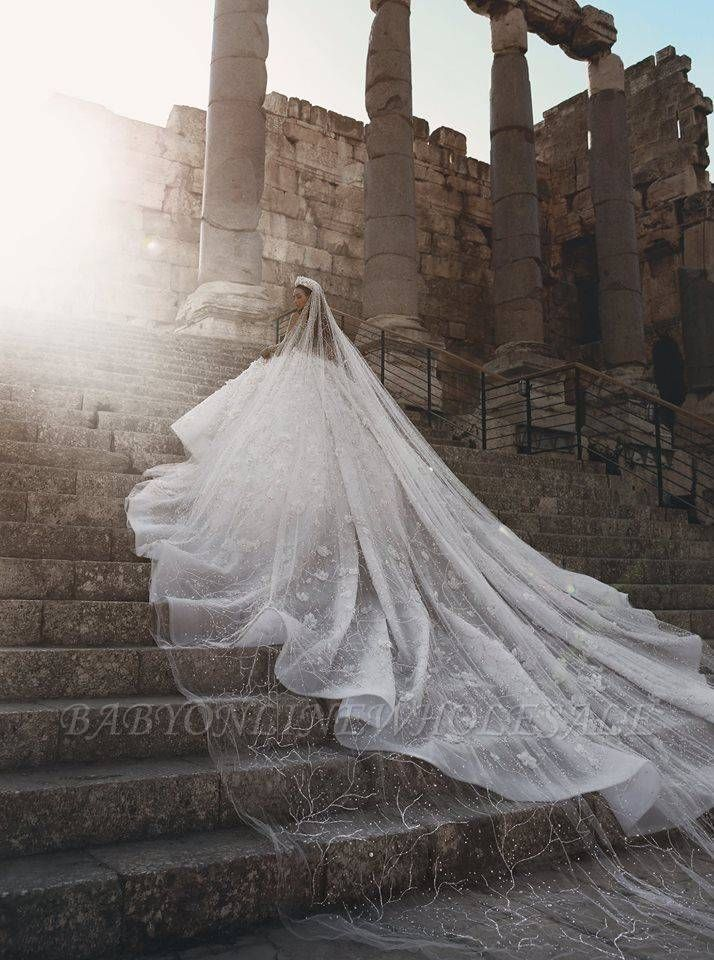 Photo of Luxury Beading Floral Bridal Gowns | Sheer Neck Long Sleeves Ball Gown Wedding D…