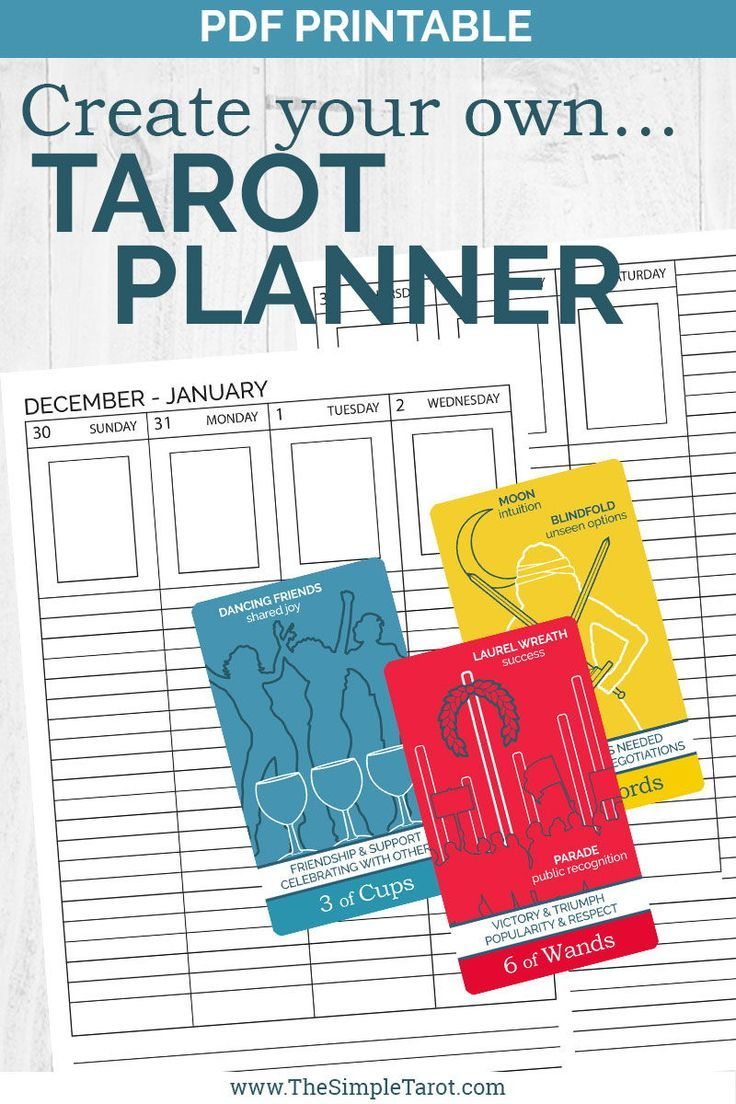 Pdf printable undated tarot weekly planner from the simple