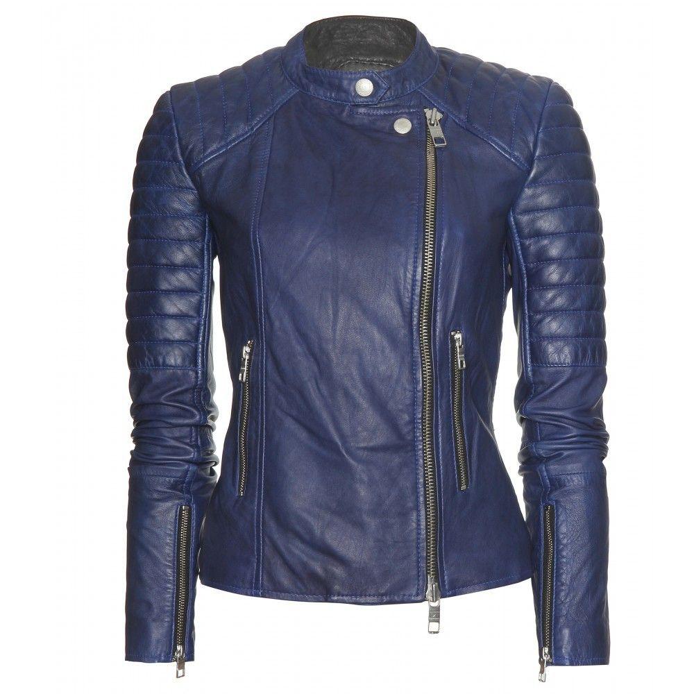 Dark blue leather jacket Fitted biker jacket