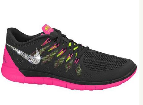 f3723eaa1811e Over Half Off 2017 NIKE Free 5.0 Run Shoes w Swarovski Crystal Detail -  BlackVoltHyper PinkAnthracite