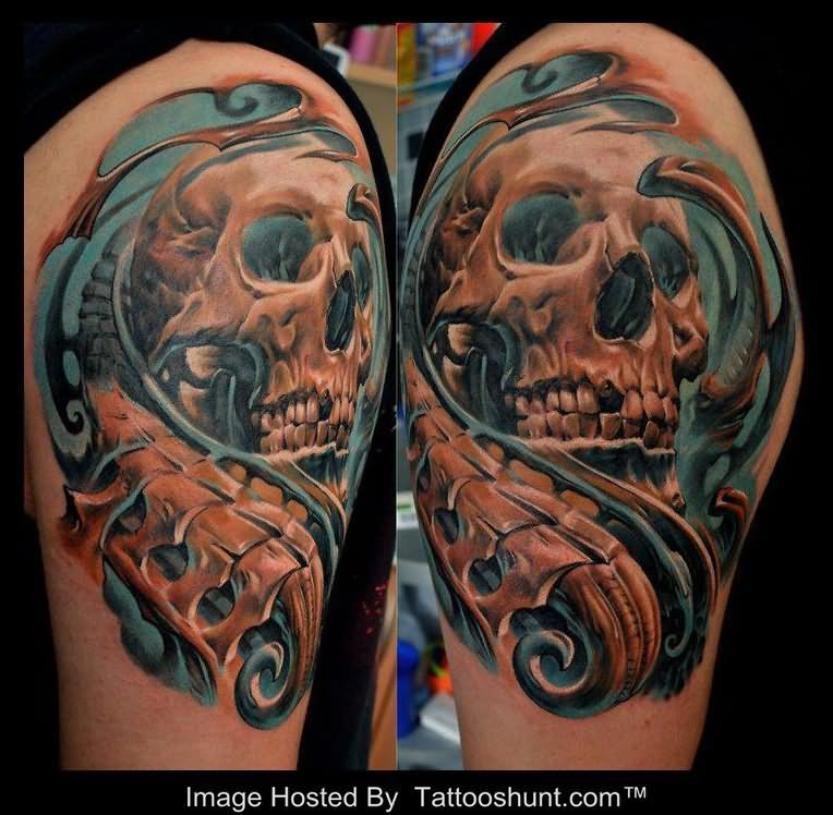 biomechanical skull tattoos half sleeve biomechanical ...