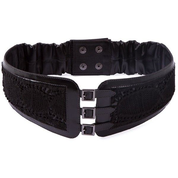 lace panel obi belt - Black Martha Medeiros oW3BR