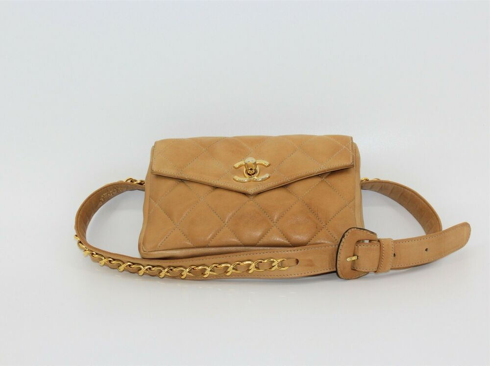 d299fd73893f CHANEL Matelasse Quilted Fanny Pack Waist Bum Bag Beige Leather Vintage XS  75