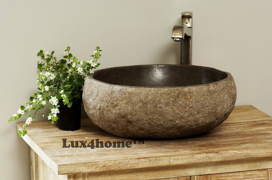River Stone Sinks And Beautiful Taps Stone Sink Sink Stone Basin